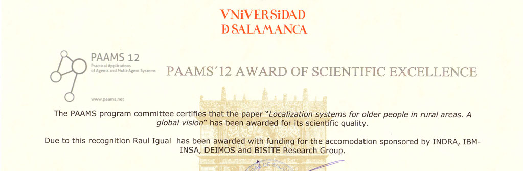 PAAMS´12 Award of Scientific Excellence