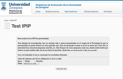 Plataforma de Evaluación UZ - Test IPIP de Personalidad